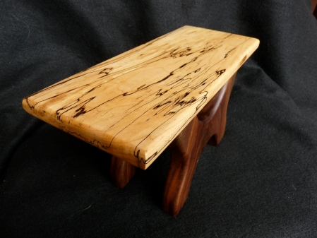 Spalted maple and walnut footstool