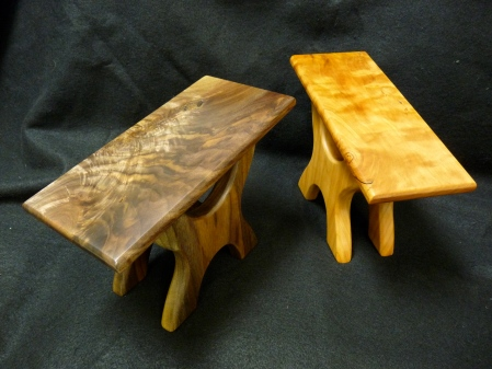 Walnut and cherry footstools